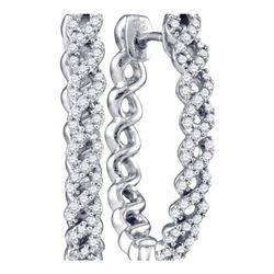 1/2 CTW Round Diamond Woven Hoop Earrings 10kt White Gold - REF-51X5T