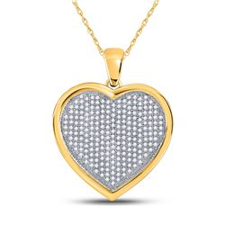 3/4 CTW Round Diamond Heart Cluster Charm Pendant 10kt Yellow Gold - REF-41K9R