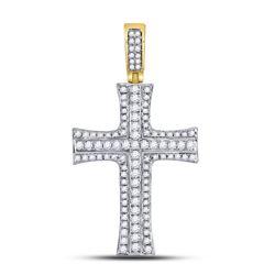 1 & 1/2 CTW Mens Round Diamond Cross Charm Pendant 14kt Yellow Gold - REF-120X3T