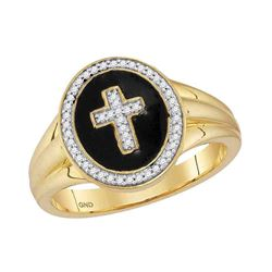 1/6 CTW Mens Round Diamond Cross Crucifix Fashion Ring 10kt Yellow Gold - REF-27N5Y