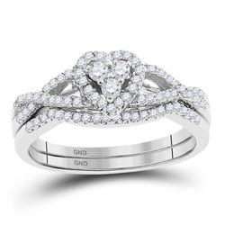 3/8 CTW Round Diamond Heart Bridal Wedding Engagement Ring 10kt White Gold - REF-30K3R