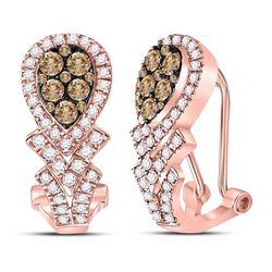 1 CTW Round Brown Diamond Hoop Earrings 10kt Rose Gold - REF-77R9H