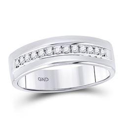 1/5 CTW Mens Machine Set Round Diamond Wedding Ring 14kt White Gold - REF-41W9F