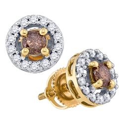 3/4 CTW Round Brown Diamond Halo Stud Earrings 10kt Yellow Gold - REF-33N6Y