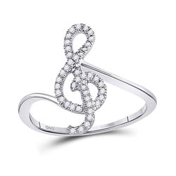 1/6 CTW Round Diamond Treble Clef Music Note Fashion Ring 10kt White Gold - REF-15X5T