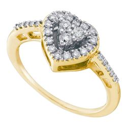 1/3 CTW Round Diamond Heart Cluster Ring 14kt Yellow Gold - REF-28A8N