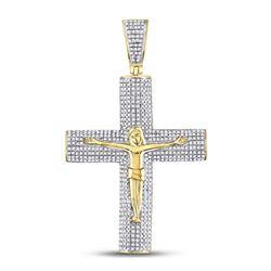 1 & 1/2 CTW Mens Round Diamond Roman Cross Crucifix Jesus Charm Pendant 10kt Yellow Gold - REF-83Y9X