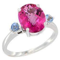 2.64 CTW Pink Topaz & Blue Sapphire Ring 14K White Gold - REF-32N3Y