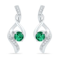 1/3 CTW Round Lab-Created Emerald Fashion Earrings 10kt White Gold - REF-11R9H