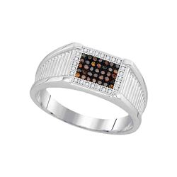 1/5 CTW Mens Round Red Color Enhanced Diamond Rectangle Cluster Ring 10kt White Gold - REF-26N3Y