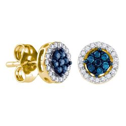 1/4 CTW Round Blue Color Enhanced Diamond Cluster Stud Screwback Earrings 14kt Yellow Gold - REF-18X