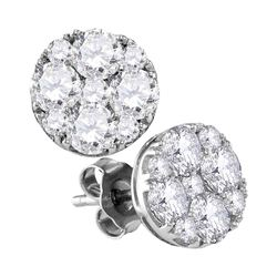 1 & 7/8 CTW Round Diamond Cluster Earrings 10kt White Gold - REF-197A9N