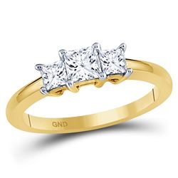 3/4 CTW Princess Diamond 3-stone Bridal Wedding Engagement Ring 14kt Yellow Gold - REF-77Y9X