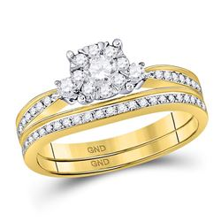 5/8 CTW Round Diamond Bridal Wedding Engagement Ring 14kt Yellow Gold - REF-65N9Y