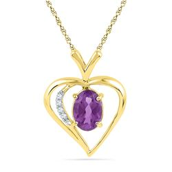 3/4 CTW Oval Lab-Created Amethyst Heart Pendant 10kt Yellow Gold - REF-7X8T