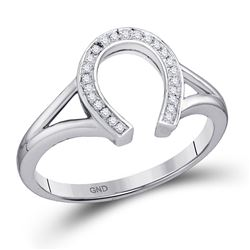 1/20 CTW Round Diamond Lucky Horseshoe Ring 10kt White Gold - REF-13R2H