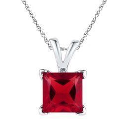 1 & 1/3 CTW Princess Lab-Created Ruby Solitaire Pendant 10kt White Gold - REF-7A8N