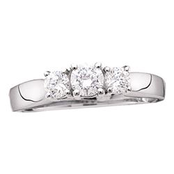 1/2 CTW Round Diamond 3-stone Bridal Wedding Engagement Ring 14kt White Gold - REF-45R3H