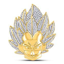 3/4 CTW Mens Round Diamond Super Saiyan Charm Pendant 10kt Yellow Gold - REF-69W6F