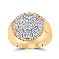 5/8 CTW Mens Round Diamond Circle Cluster Ring 10kt Yellow Gold - REF-55M5A