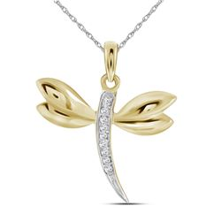 0.03 CTW Diamond-accented Dragonfly Winged Bug Insect Charm Pendant 10kt Yellow Gold - REF-5F9M