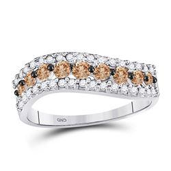 3/4 CTW Round Brown Diamond Contoured Ring 10kt White Gold - REF-24X3T