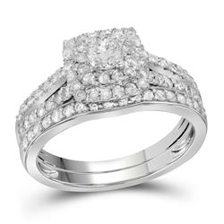 1 CTW Round Diamond Bridal Wedding Engagement Ring 14kt White Gold - REF-87K5R