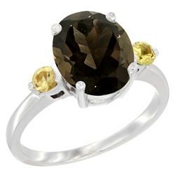 2.64 CTW Quartz & Yellow Sapphire Ring 10K White Gold - REF-24A5X