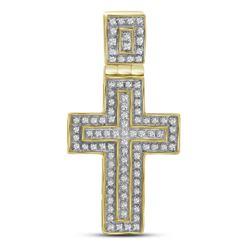 1/4 CTW Mens Round Diamond Layered Cross Charm Pendant 10kt Yellow Gold - REF-30X3T