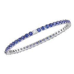 9 CTW Round Blue Sapphire Bangle Bracelet 18kt White Gold - REF-503M9A