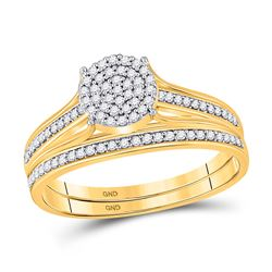 1/3 CTW Round Diamond Bridal Wedding Engagement Ring 10kt Yellow Gold - REF-24K3R