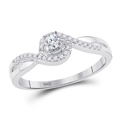 1/5 CTW Round Diamond Solitaire Swirl Promise Bridal Ring 10kt White Gold - REF-19F2M