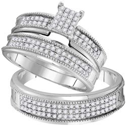 3/4 CTW His & Hers Round Diamond Cluster Matching Bridal Wedding Ring 10kt White Gold - REF-47M9A