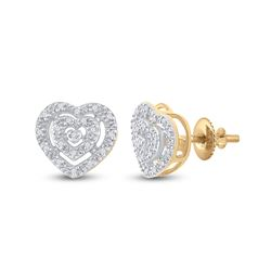 1/12 CTW Round Diamond Heart Earrings 10kt Yellow Gold - REF-13M2A