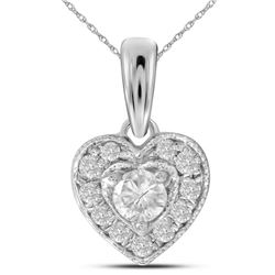 1/4 CTW Round Diamond Solitaire Heart Pendant 14kt White Gold - REF-27K5R