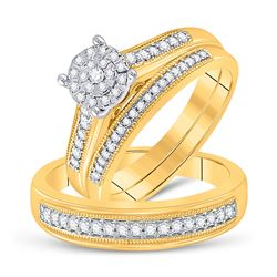 3/8 CTW His & Hers Round Diamond Cluster Matching Bridal Wedding Ring 10kt Yellow Gold - REF-47W9F