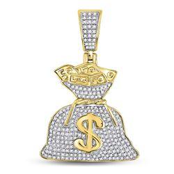 1/2 CTW Mens Round Diamond Money Bag Dollar Charm Pendant 10kt Yellow Gold - REF-35A9N