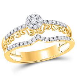 1/3 CTW Round Diamond Flower Scroll Ring 14kt Yellow Gold - REF-33M6A