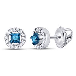 1/5 CTW Round Blue Color Enhanced Diamond Halo Earrings 10kt White Gold - REF-14F4M
