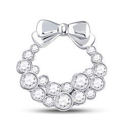1/2 CTW Round Diamond Holiday Wreath Pendant 10kt White Gold - REF-34H8W