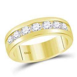 1 & 1/2 CTW Mens Machine Set Round Diamond Wedding Channel Ring 14kt Yellow Gold - REF-215Y9X