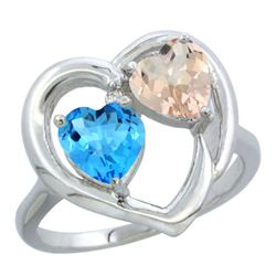 1.91 CTW Diamond, Swiss Blue Topaz & Morganite Ring 14K White Gold - REF-36N6Y