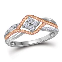 1/5 CTW Round Diamond Rope Rose-tone Ring 10kt Two-tone Gold - REF-19K2R