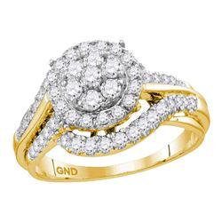 1 CTW Round Diamond Cluster Bridal Wedding Engagement Ring 14kt Yellow Gold - REF-83R9H