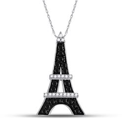 1/3 CTW Round Black Color Enhanced Diamond Eiffel Tower France Pendant 10kt White Gold - REF-14R4H