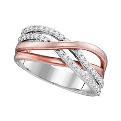 1/3 CTW Rose-tone Round Diamond Crossover Ring 10kt White Gold - REF-35N9Y