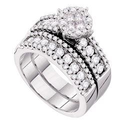 1 & 3/4 CTW Princess Diamond Bridal Wedding Engagement Ring 14kt White Gold - REF-156T3K
