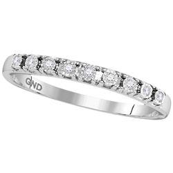 1/20 CTW Round Diamond Illusion-set Ring 10kt White Gold - REF-9R6H