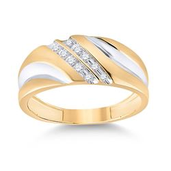 1/8 CTW Mens Round Diamond 2-tone Wedding Anniversary Ring 10kt Yellow Gold - REF-20Y3X