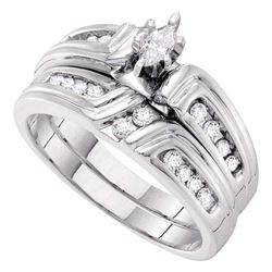 3/8 CTW Marquise Diamond Bridal Wedding Engagement Ring 14kt White Gold - REF-57Y5X